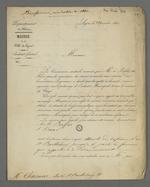 Lettre de Jean-François Terme adressée à Pierre Charnier dans laquelle il lui confie l'organisation des missions de bienfaisance et d'aide au victimes des inondations.
