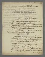 Défense de Dominique Gérard, rédigée par Pierre Charnier, et présentée à Arquillière, président du Conseil des Prud'hommes du Rhône.