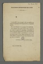Tract de campagne électorale destiné aux électeurs de la section de Pierre-Scize, en faveur du candidat aux élections municipales, Jeanclier.