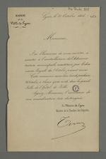 Invitation de Jean-François Terme à l'installation de l'Administration municipale constituée par l'ordonnance royale du 08 octobre 1846.