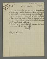 Requête pour obtenir l'usage de la salle Henry IV de l'Hôtel de Ville pour y organiser une réunion, en vue de la signature du manifeste de la société de garantie mutuelle des marchands-fabricants contre le piquage d'once, rédigée par Bocory et adressée à Jean-François Terme, maire de Lyon.