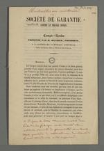 Compte-rendu de Maurier, président de la société de garantie contre le piquage d'once.