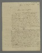 Lettre de Pierre Charnier comportant des commentaires sur les différentes versions de l'adresse destinée au Vicomte Dubouchage par les ouvriers et fabricants lyonnais, en guise de félicitations pour son étude sur l'organisation du travail qui prend en compte la condition de l'ouvrier.