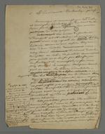 Brouillon de l'autre version de Pierre Charnier de l'adresse destinée au Vicomte Dubouchage par les ouvriers et fabricants lyonnais, en guise de félicitation pour son étude sur l'organisation du travail qui prend en compte la condition de l'ouvrier.