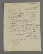 """Lettre de l'abbé Courbet adressée à Pierre Charnier dans laquelle il lui demande de lui transmettre une nouvelle copie de """"l'adresse des négociants au Vicomte Dubouchage"""", ayant égaré la première et souhaitant la faire signer à plusieurs personnes."""