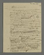 """Notes de Robert destinées à la rédaction de """"l'adresse des négociants au Vicomte Dubouchage""""."""