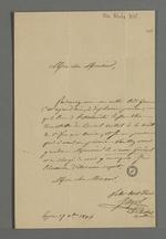Lettre de l'abbé Jayol, directeur et secrétaire de la société de Saint François Xavier, adressée à Pierre Charnier dans laquelle il l'invite à se rendre à l'assemblée trimestrielle du conseil central de la société.