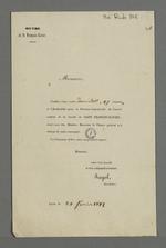 Convocation de l'abbé Jayol, secrétaire de la société de Saint François Xavier, adressée à Pierre Charnier dans laquelle il l'invite à se rendre à l'assemblée trimestrielle du conseil central de la société.