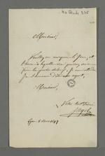 Lettre de l'abbé Jayol, directeur de la société de Saint François Xavier, adressée à Pierre Charnier dans laquelle il lui demande de lui indiquer ses disponibilité pour venir effectuer un procès-verbal.
