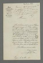 Lettre de l'abbé Jayol, directeur de la société de Saint François Xavier, adressée à Pierre Charnier dans laquelle il l'invite à se rendre à la procession en l'honneur de la Vierge et de la célébration de l'anniversaire des trois ans de la fondation de la société.