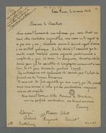 Lettre des membres du Grand Conseil de la Société d'Indication mutuelle, adressée à Pierre Charnier, alors directeur, au sujet de la convocation qu'il avait lancé et à laquelle il ne s'est pas rendu; suivi des notes de Pierre Charnier concernant le fondement du mutuellisme.