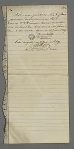 Bon au porteur Gallet, trésorier de la première section de la société de Saint François Xavier, signé par Quantin, secrétaire de la société.