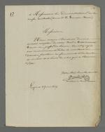 Lettre de Quantin, secrétaire de la société de Saint François Xavier, adressée aux administrateurs de la caisse centrale, pour accuser réception d'un bon de 160 francs qui sera redistibué aux différentes sections de la société.