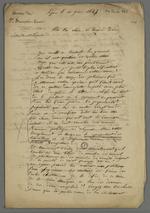 Lettre de Perrin adressée à Colette Charnier dans laquelle il lui transmet l'article dans lequel son époux est attaqué, et lui conseille de le convaincre de se retirer de la société de Saint François Xavier, afin de rester le neutre représentant des travailleurs.