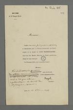 Convocation de l'abbé Jayol, secrétaire de la société de Saint François Xavier, adressée à Pierre Charnier dans laquelle il l'invite à se rendre à la réunion trimestrielle du conseil central de la société.