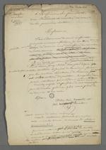 Brouillon de la lettre de Pierre Charnier adressée aux directeur et sous-directeur de la société de Saint François Xavier, dans laquelle il donne sa démission de la fonction de secrétaire de la première section de la société.