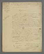 Copie de la lettre de Pierre Charnier adressée aux directeur et sous-directeur de la société de Saint François Xavier, dans laquelle il donne sa démission de la fonction de secrétaire de la première section de la société.