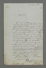 Réponse de l'abbé Jayol, directeur de la société de Saint François Xavier, à la lettre de démission de Pierre Charnier de la fonction de secrétaire de la première section de la société.