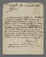 Lettre de Leborgne, secrétaire de la première organisation mutuelliste, adressée à Pierre Charnier, dans laquelle il lui recommande l'affaire de Lablanche, au sujet d'une convention d'apprentissage pour laquelle le Conseil des Prud'hommes a fait preuve de partialité.