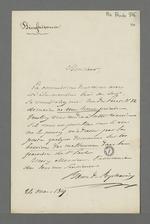 """Lettre du Baron de Reinarnay adressée à Pierre Charnier, fraîchement élu membre de la Commission de secours, dans laquelle il le convie à une réunion, précisant que s'il est empêché, il souhaiterait se faire communiquer les documents sur les besoins des """"malheureux""""."""