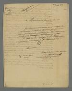 Lettre de Pierre Charnier adressée à Jean de Lacroix-Laval, ancien maire de Lyon, dans laquelle il lui transmet une note concernant le don de la comtesse de Chambord pour les victimes de la crise économique.