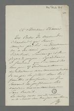 Lettre du Baron de Reinarnay adressée à Pierre Charnier, membre de la Commission de secours, dans laquelle il l'informe des consignes de distribution de secours alimentaire, soulignant qu'il ne faut pas laisser pour compte les ouvriers momentanément sans travail.