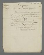 """Notes concernant la pétition du 1er octobre 1847, concernant le droit de vote et l'éligibilité des français qui payent """"l'impôt du sang et de l'argent""""."""