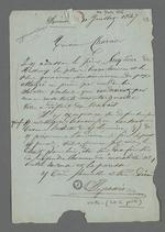 Lettre de Depassio, fabricant et chansonnier, adressée à Pierre Charnier, dans laquelle il lui recommande l'affaire de Mr.Treydière, chef d'atelier, attaqué sur une question d'apprentissage.