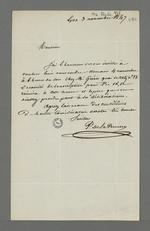 Lettre de P.de la Perrière adressée à Pierre Charnier dans laquelle il l'invite à une réunion du comité de souscription pour Pie IX, chez Guérin.