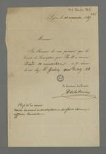 Lettre de P.de la Perrière adressée à Pierre Charnier dans laquelle il l'informe de la date de la réunion du comité de souscription pour Pie IX, chez Guérin.