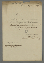 Lettre de P.de la Perrière adressée à Pierre Charnier dans laquelle il l'informe de la date de la réunion du comité de souscription pour Pie IX, chez Perrin.