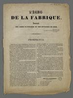 Prospectus de présentation du journal des chefs d'ateliers et des ouvriers en soie de Lyon,