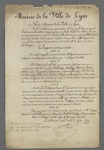 Mandats pour le crédit de cent mille francs octroyés aux ouvriers par la mairie de Lyon sur délibération du Conseil Municipal.