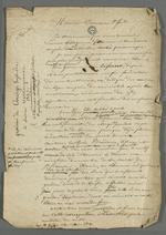 Brouillon d'une lettre de Pierre Charnier adressée à Demarre, suivi du brouillon d'une adresse au comte de Chambord accompagnant l'envoi d'un tableau.