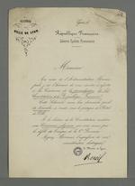 Lettre adressée à Pierre Charnier par Edouard Réveil, maire de Lyon, dans laquelle il l'invite à la cérémonie de promulgation de la Constitution de la République Française, le