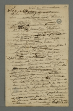 """Brouillon d'un insert rédigé par Pierre Charnier intitulé """"Souvenir de 1848 : dialogue nocturne entre deux amis crieurs de journaux"""", publié dans le journal"""