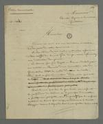 Brouillon d'une lettre de Pierre Charnier, adressée à Combe, adjoint à la mairie de la Guillotière, dans laquelle il lui fait part de son avis concernant une réforme de l'école communale.
