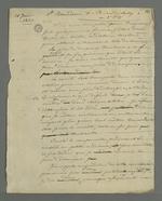 Brouillon d'une lettre de Pierre Charnier adressée à Baudron dans laquelle il lui fait part de la saisie dont il a été victime commandée par la commission de répartition.