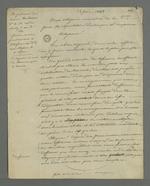 Brouillon d'une lettre de Pierre Charnier adressée aux membres de la commission de répartition de la commande d'écharpes et de drapeaux en étoffes de soie, effectuée par le gouvernement provisoire à l'attention des employés de la Fabrique.