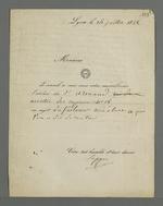 Lettre de Seppe, président du Conseil des prud'hommes dans laquelle il informe Pierre Charnier de la surveillance d'un atelier, suivie de notes de Pierre Charnier concernant l'essai de Thierriat.