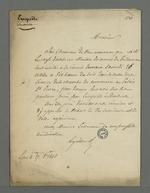 Lettre d'Arquillière adressée à Pierre Charnier dans laquelle il le convoque à une réunion des marchands-fabricants membres du Conseil des Prud'hommes, pour que ces derniers donnent leur avis sur les questions posées par l'enquête industrielle.
