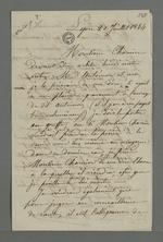 Lettre de Covillard adressée à Pierre Charnier dans laquelle il l'entretient au sujet d'une affaire qui l'oppose à un ouvrier concernant une commande mal effectuée, affaire dans laquelle Pierre Charnier joue le rôle d'arbitre, suivie d'une note de ce dernier.