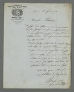 Lettre de Brosse, directeur de l'association des veloutiers adressée à Pierre Charnier dans laquelle il lui demande de bien vouloir le représenter en tant qu'arbitre dans l'affaire qui l'oppose à l'un de ses sociétaires, Gallay.