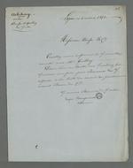 Lettre signée par Pierre Charnier et Rougemont, adressée à Brosse, directeur de l'association des veloutiers, pour savoir s'il a pu parvenir à une conciliation dans l'affaire qui l'oppose à l'un des sociétaires démissionnaires.