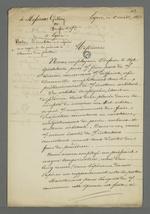 Lettre signée par Pierre Charnier et Rougemont, adressée à Brosse, directeur de l'association des veloutiers, ainsi qu'à Galley sociétaire démissionnaire, pour savoir s'ils ont pu parvenir à une conciliation dans l'affaire qui les opposent.