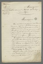 Lettre rédigée par Pierre Charnier et adressée au cardinal de Bonald, archevêque de Lyon, dans laquelle il propose, au nom des futurs signataires, que l'Église agisse de même que le gouvernement en effectuant à son tour une commande auprès des employés de la Fabrique.