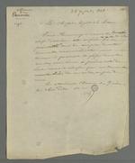 Lettre de Pierre Charnier adressée à Chipier, adjoint à la mairie, dans laquelle il lui demande de lui recommander les chefs d'atelier qui ont participé à l'entreprise de faire passer commande d'oriflammes aux curés des diocèses auprès des employés de la Fabrique lyonnaise.