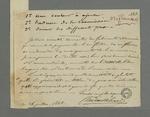 Lettre d'Hébrard adressée à Pierre Charnier dans laquelle il lui fait part des difficultés rencontrées du à l'empressement des employés de la Fabrique concernant la commande d'oriflammes.