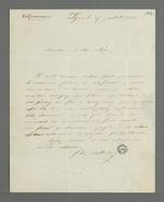 Lettre de Félix Balleidier adressée à Pierre Charnier dans laquelle il lui fait part de son désir de l'entretenir au sujet des rumeurs courant sur la commission de répartition concernant la commande d'oriflammes aux curés des diocèses auprès des employés de la Fabrique lyonnaise.