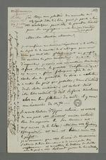 Lettre de Demarre adressée à Pierre Charnier dans laquelle il l'entretient de l'organisation de la commande d'oriflammes aux curés des diocèses auprès des employés de la Fabrique lyonnaise.